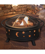 Jackman Star And Moon Steel Wood Burning Fire Pit - £140.00 GBP