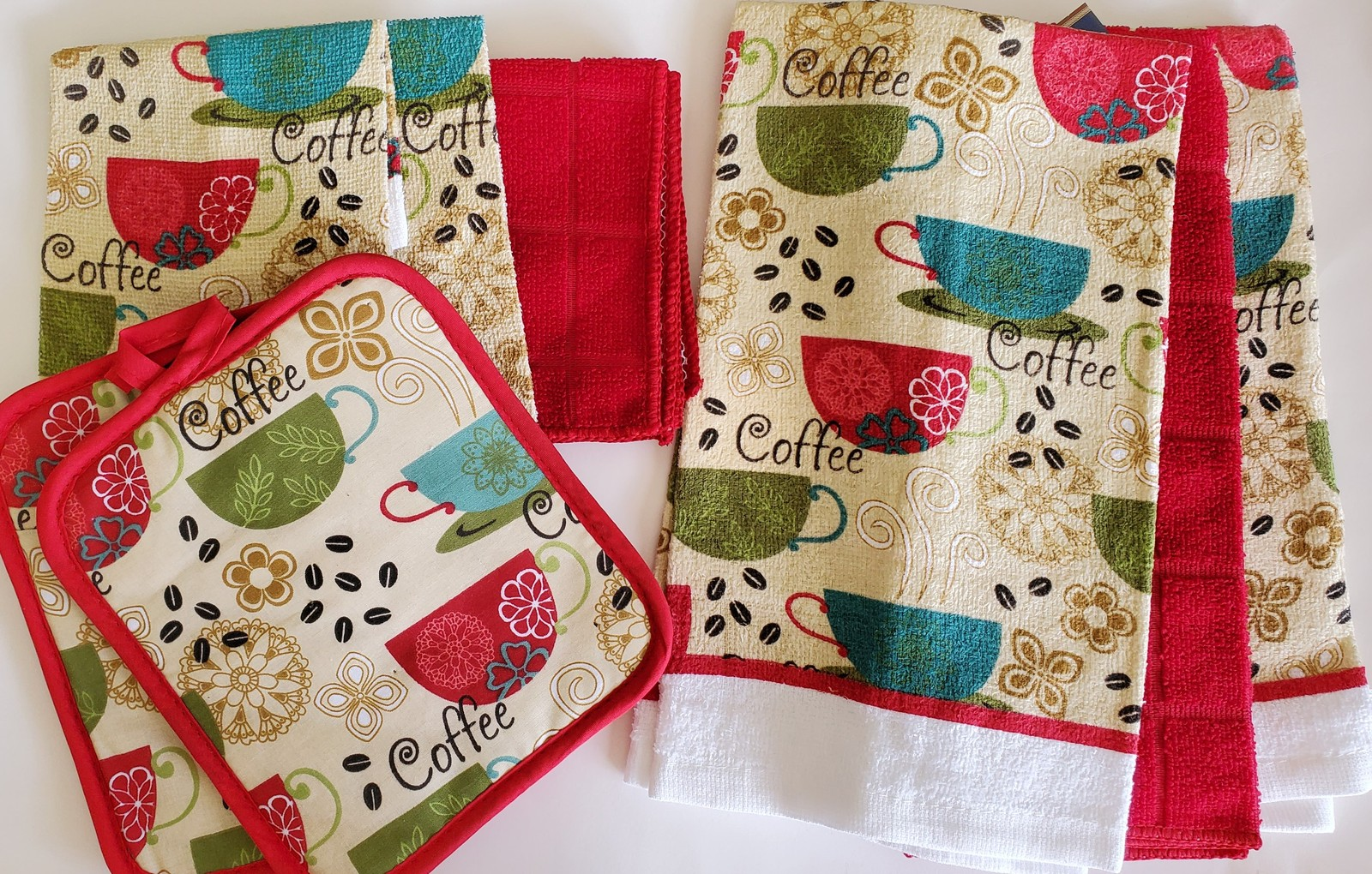Red Coffee Kitchen Set 7pc Towels Potholders Dishcloths Colorful Cafe Cups - £12.35 GBP