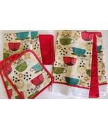 Red Coffee Kitchen Set 8pc Towels Potholders Dishcloths Colorful Cafe Cups - $15.99