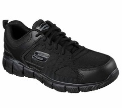 Skechers Wide Fit Black shoes Work Men Memory Foam Slip Resistant EH Saf... - $66.39
