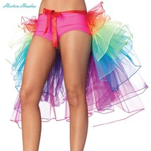 HMMS Women's Sexy Lingerie Bustle Skirt bubble long tail Dance Rainbow L... - $18.76