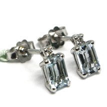 18K WHITE GOLD AQUAMARINE EARRINGS 0.90 EMERALD CUT, DIAMONDS, MADE IN ITALY image 2