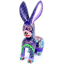Handmade Alebrije Oaxacan Wood Carving Painted Folk Art Jackrabbit Rabbit Figure image 5