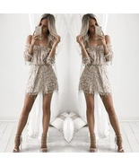 Women's Gold Sequin Nude V Neck Playsuit Romper Cocktail Party Dress - $45.00