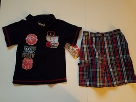 Quad Toddler Boys 2pc Short Outfit  Sizes 3T NWT Navy Plaid - $12.79