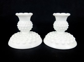 Fenton Hobnail Milk Glass Candle Sticks, Candle Holders Vintage Farm Hou... - $16.61