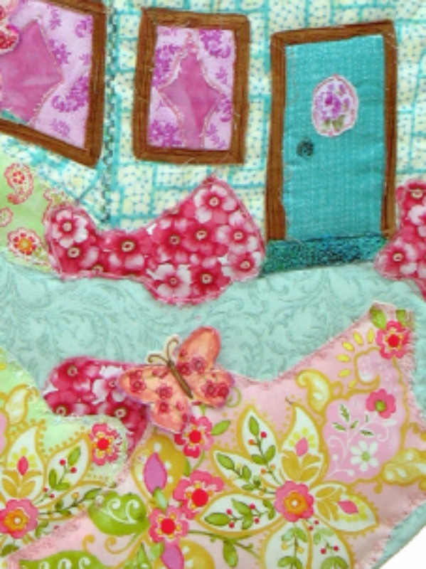 Cottage in the Garden: Quilted Art Wall Hanging