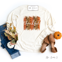 Womens Long Sleeve Thankful T-shirt Thanksgiving Leopard Print Graphic T... - $32.99