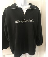 Vintage 90s GUESS Hooded Sweatshirt Womens OSFA Black Spellout Bling 3/4... - $27.73
