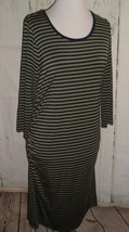 Maternity Dress Liz Lange Olive Green Blue Stripes Stretchy w/ Rouched S... - $13.83
