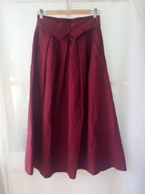 Women Pleated Long Linen Cotton Skirts Outfit Casual Skirt - Burgundy, One Size image 2