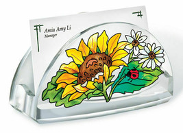 Sunny Composition Business Card Holder Acrylic New Amia Sunflower Ladybug  - $16.82