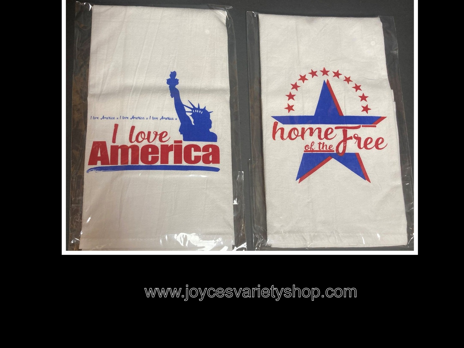"Primary image for Flour Sack Towel Absorbent Linen 28"" x 28"" Love America or Home of The Free"