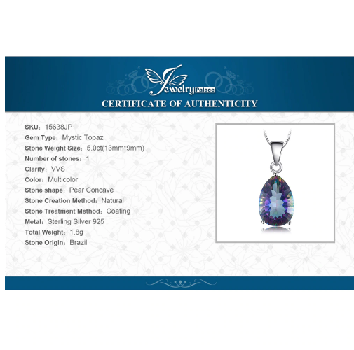 JewelryPalace 4ct Genuine Multicolor Rainbow Fire Mystic Topaz Pendant Pear Real image 6