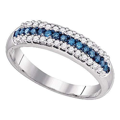 10k White Gold Womens Round Blue Color Enhanced Diamond Band Ring (.37 cttw.) (I