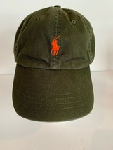 1f0be9a151838 Vintage 90s Polo Ralph Lauren Dad Hat Cap Green Orange Pony Strapback  Spellout -  39.59