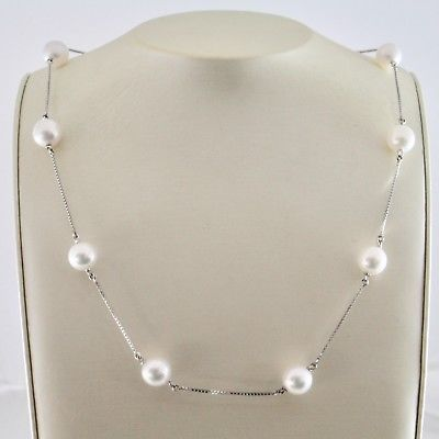 NECKLACE WHITE GOLD 18KT WITH WHITE PEARLS AKOYA ROUND DIAMETER 8 8.5 MM
