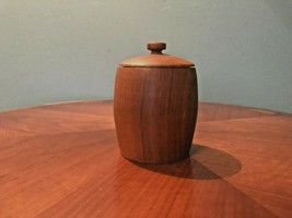 Vintage Mid Century Modern Teak 8 Coaster Set in  wood container with lid - $34.65