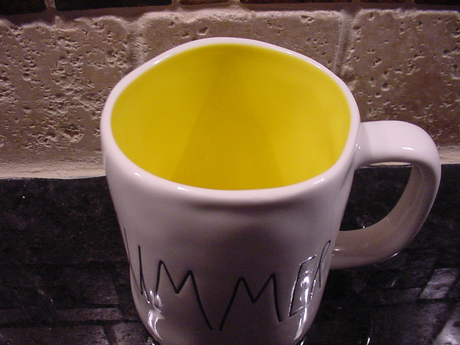 Rae Dunn by Magenta SUMMER Mug with Yellow Interior, New