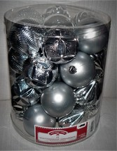 Holiday Time 26-Pack Silver Matte Glitter Ornaments - $10.98