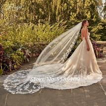 Shiny Elegant Applique Beading Sleeveless Backless Long Train A-Line Bridal Dres image 4