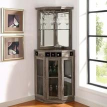 Rustic Oak Wood Corner Dry Bar Storage Server Wine Rack Liquor Cabinet C... - $387.98