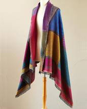 "Smithsonian Jacquard Color Block Shawl 76"" x 36"" Super Soft Wool/Cotton Blend - $44.99"