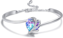 AOBOCO 925 Sterling Silver Love Heart Adjustable Bangle Bracelets-Blue P... - $153.93