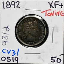 1892 Silver Barber Dime 10¢ Coin Lot# CV31 image 1