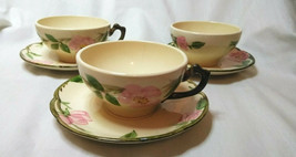 Vintage Desert Rose Franciscan China Set of 3 Tea cups & Saucers, Coffee... - $12.38
