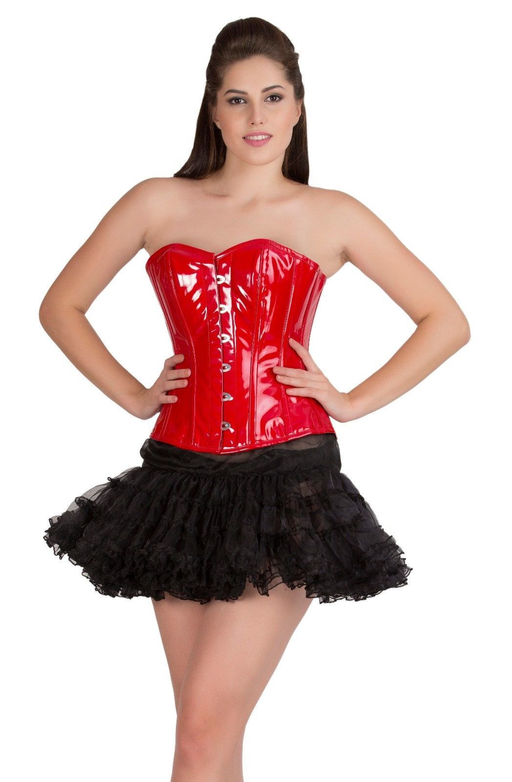 Red PVC Leather  Gothic Steampunk Bustier Overbust Tutu Skirt Corset Dress