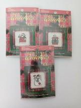 Leisure Arts Christmas Quickies Ornaments  3 Cross Stitch Kits Santa Sno... - $19.41