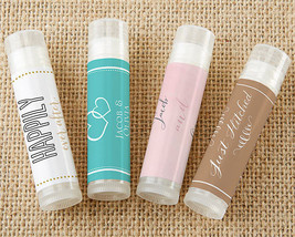 Personalized Themed Summer Bridal Shower Anniversary Wedding Lip Balm Favor - $72.15+