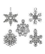 Housweety 50 Mixed Silver Tone Christmas Snowflake Charm Pendants  - $24.99