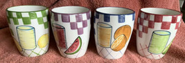 "4 GATESWARE LAURIE GATES 4"" CERAMIC CUPS FRUIT Pattern 2000 Juice Glasse... - $24.74"