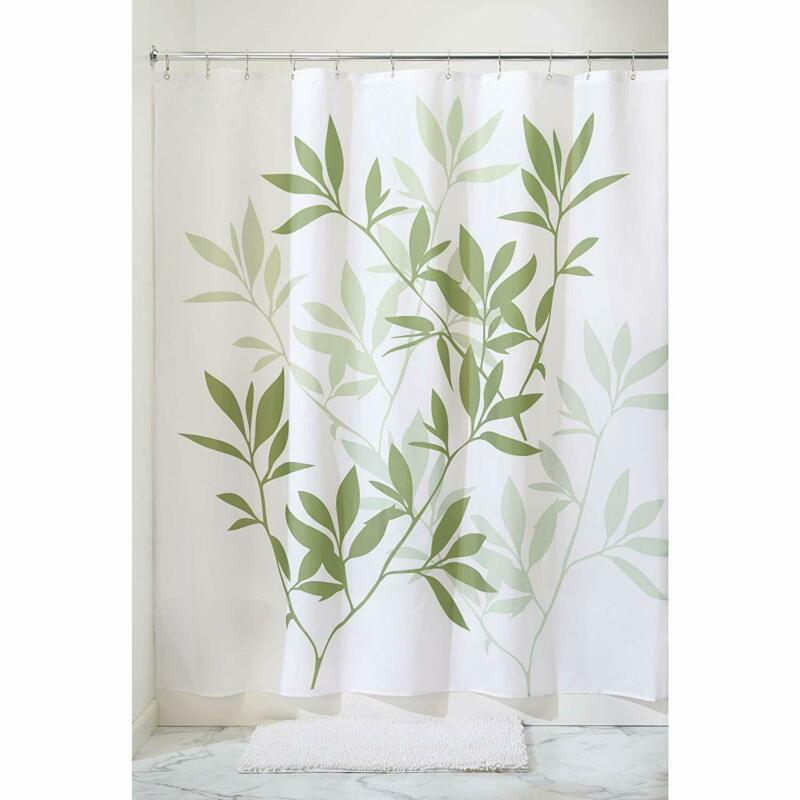 Interdesign Leaves Fabric Shower Curtain, Modern Mildew-Resistant Bath Liner For