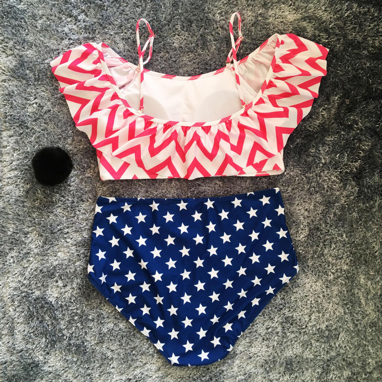 Women's Plus Size Ruffle Off Shoulder High Waist Two Pieces Bikini Set