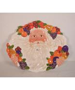 Dept 56 Santa Serving Plate Peggy Toole Christmas Face Fruit Wreath NIB - $39.60