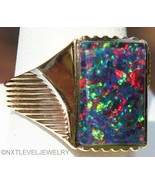 HEAVY Antique Art Deco LARGE RARE Natural BLACK Opal 10k Solid Gold Men'... - $1,133.55
