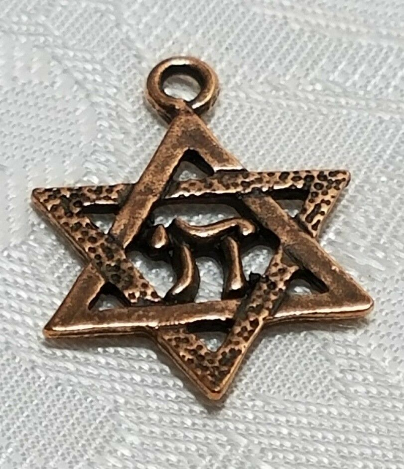 STAR Of DAVID with CHAI FINE PEWTER PENDANTS CHARM - 15mm L x 21mm W x 1mm D