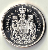 1963 CANADA 50 CENTS  SILVER PROOF LIKE UNCIRCULATED COIN DBW - $15.00