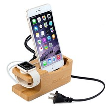 3-Port USB Charging Station Bamboo Wooden Holder For Apple iPhone Watch ... - $29.98