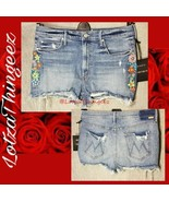 MOTHER The Dutchie Chew Shorts Sz 31 Misbeliever Embroidered Floral NEW - $158.39