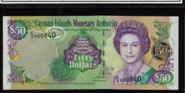 "CAYMAN ISLANDS P32b $50 2003 ""STING RAY"" QUEEN ELIZABETH II HIGH GRADE UNC! - $335.00"