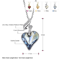 Necklaces & Pendants For Women - Austrian Crystal Rhinestones 4 Color Heart Love image 7