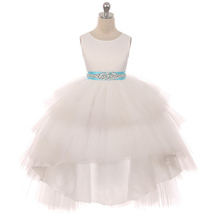 Ivory Satin Bodice Hi-Low Layers Tulle Skirt Rhinestones Turquoise Sash ... - $89.95+