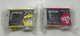 Set of 2 Genuine Epson 125 Ink Cartridges- Magenta and Yellow - T1253,T1254 -New - $14.99