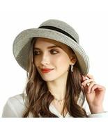 URSFUR Women Sun Wide Brim Straw Panama Hat Fedora Beach Roll up Cap UPF50+ - $30.00