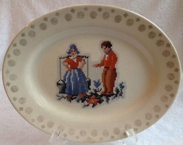 "Salem Dutch Couple China Platter Vintage 11 3/4"" Petit Point Gold Trim - $14.59"
