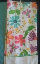 KITCHEN TOWELS 3-pc Floral Hand Towel Flower Butterfly Turquoise Green image 2